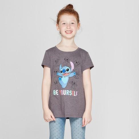 Girls' Lilo & Stitch Short Sleeve T-Shirt - Charcoal Gray - image 1 of 3