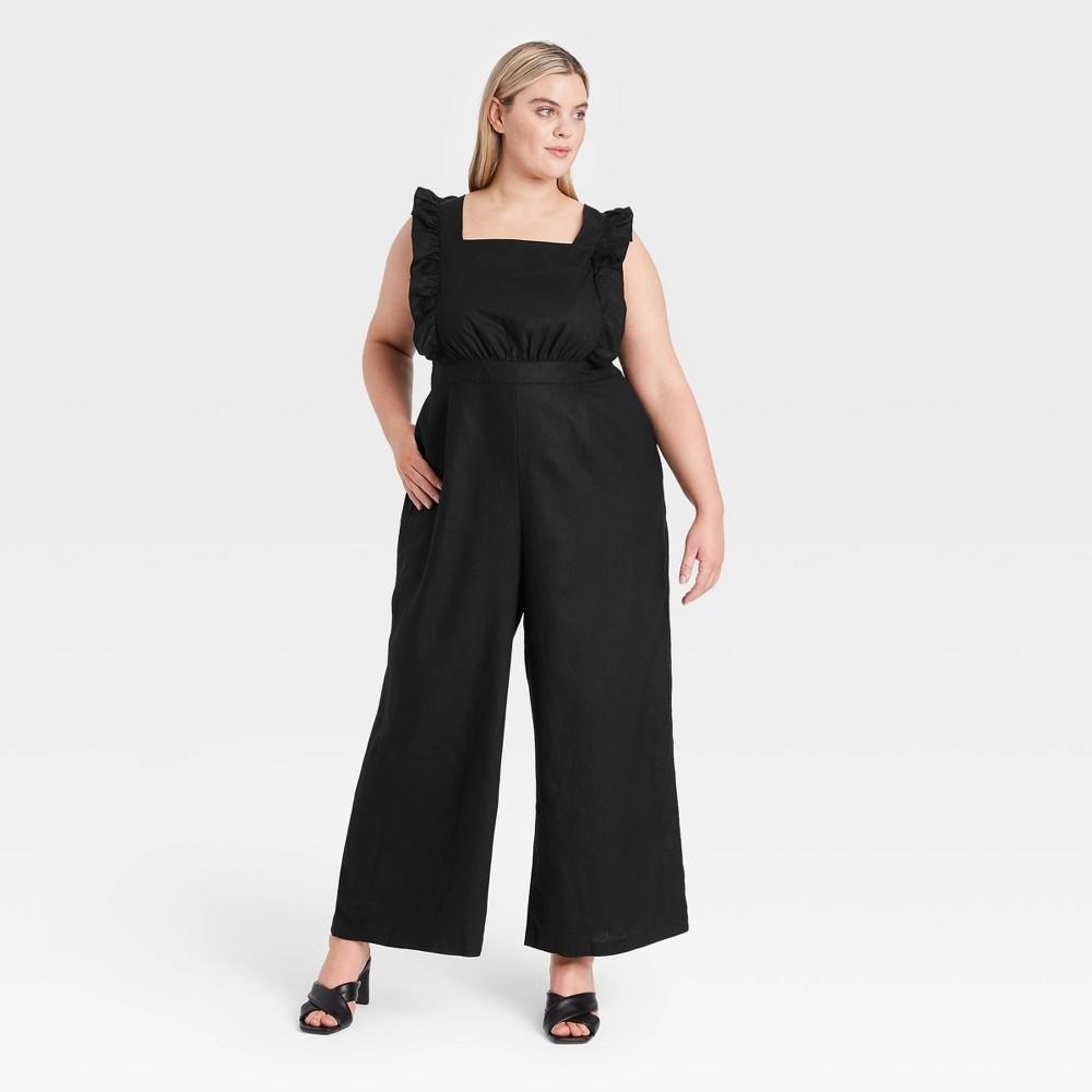 Cottagecore Clothing, Soft Aesthetic Womens Plus Size Ruffle Short Sleeve Jumpsuit - Who What Wear Jet Black 4X $39.99 AT vintagedancer.com
