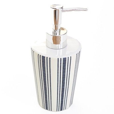 Lakeside Farmhouse Striped Ceramic Hand Soap or Lotion Mechanical Pump Dispenser