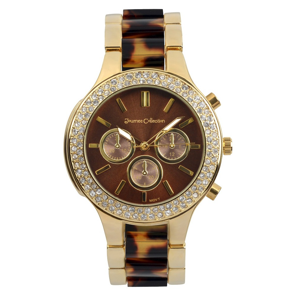 Women's Journee Collection Rhinestone Accented Round Face Metal Link Watch - Tortoise