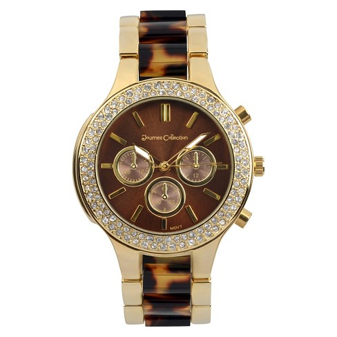 Women's Journee Collection Rhinestone Accented Round Face Metal Link Watch - image 1 of 2