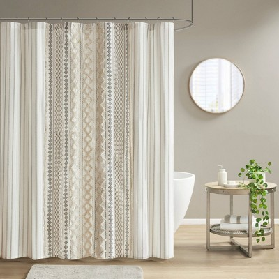 Imani Chenille Striped Cotton Printed Shower Curtain Ivory