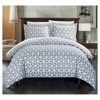 Lovey Geometric Diamond Printed Reversible Duvet Cover Set 6 Piece (Twin)Gray - Chic Home Design