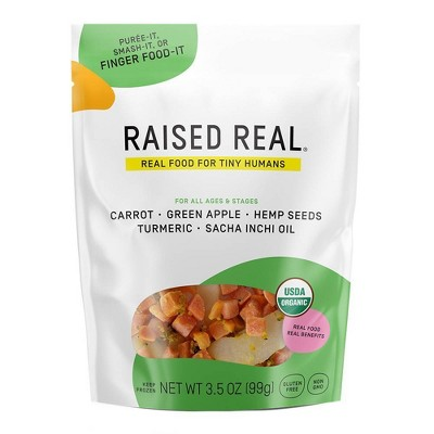 Raised Real Organic Gluten Free Frozen Carrot & Apple Frozen Baby and Toddler Food - 3.5oz