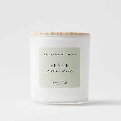 8oz Wood Lidded Glass Wellness Peace Candle - Project 62™