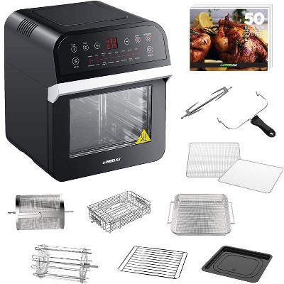 GoWISE GW44800-O Deluxe 12.7-Quarts 15-in-1 Electric Hot Air Fryer Oven with Rotisserie and Dehydrator, 3 Rack Levels, Accessories, and 50 Recipes