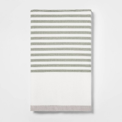 Striped Dual Sided Kitchen Towel Sage Green - Project 62™