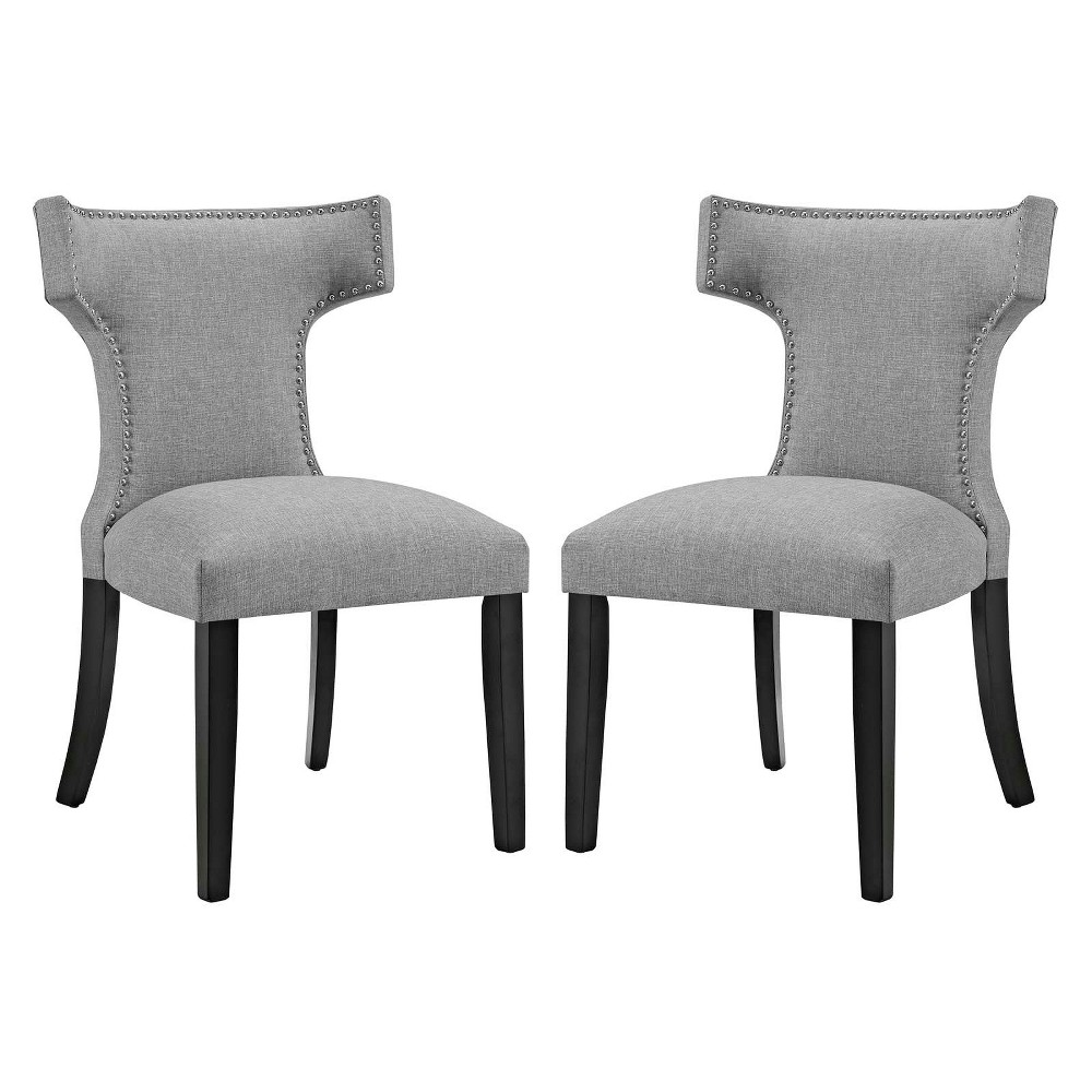 Curve Dining Side Chair Fabric Set of 2 Light Gray - Modway
