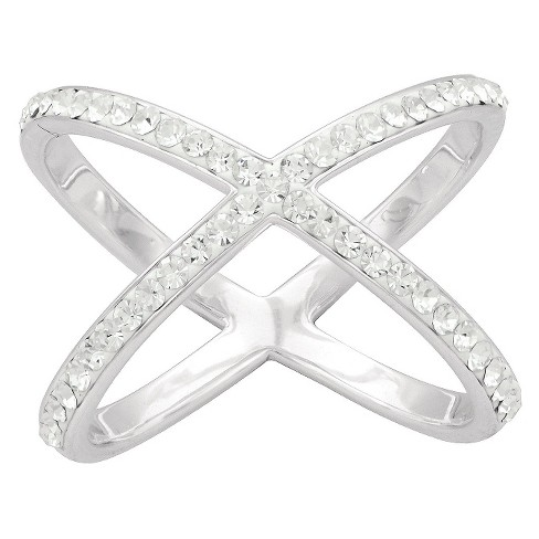 Women's Silver Plated Large X Crystal Ring (7) - image 1 of 1