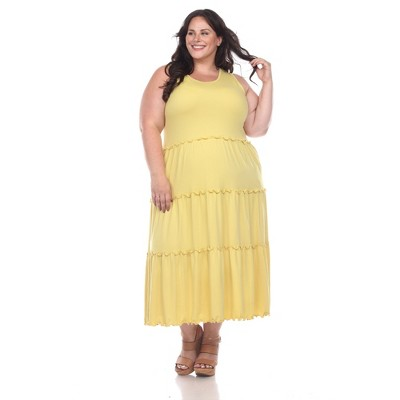 Plus Size Scoop Neck Tiered Midi Dress - White Mark