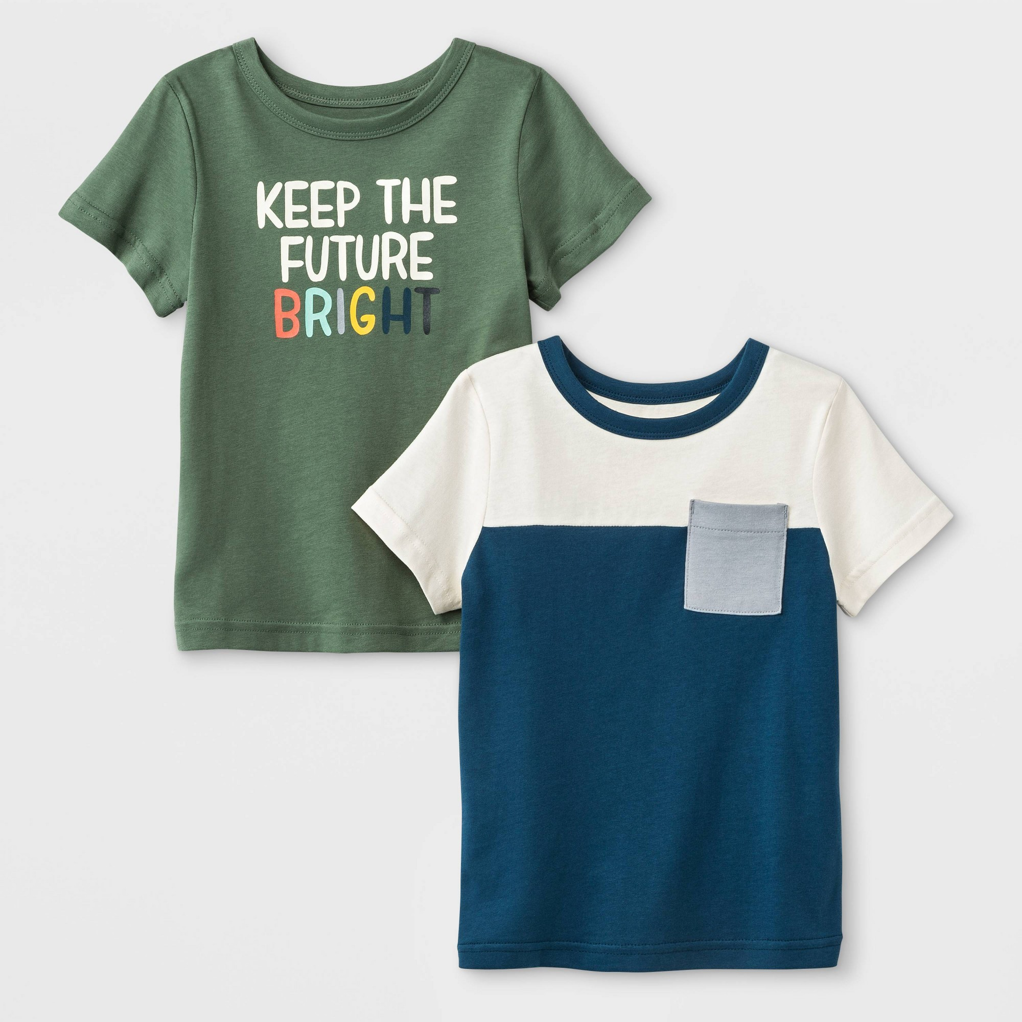 Toddler Boys' 2pk Short Sleeve Jersey Keep The Future Bright T-Shirts - Cat & Jack Blue/Olive 5T