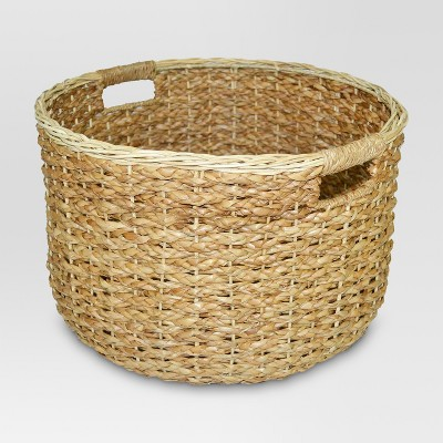 Round Seagrass Wicker Cube Storage Basket   Threshold™
