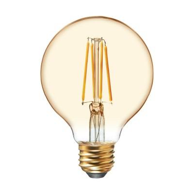 General Electric 2pk 40W VintaG25 Globe Filament Amber LED Light Bulb White