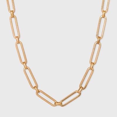 Paper Clip Chain Necklace - Universal Thread™ Worn Gold