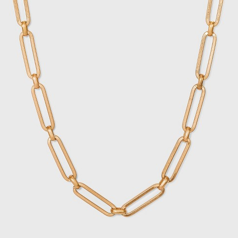 Paper Clip Chain Necklace - Universal Thread™ Worn Gold - image 1 of 3