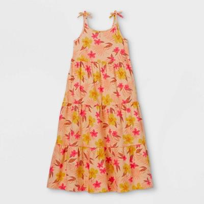 Girls' Printed Knit Sleeveless Maxi Dress - Cat & Jack™ Light Peach