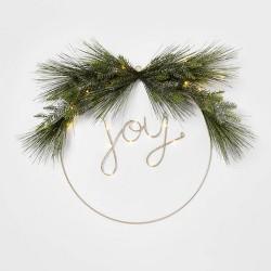 24in Pre-Lit JOY Flocked LED Wreath - Wondershop™