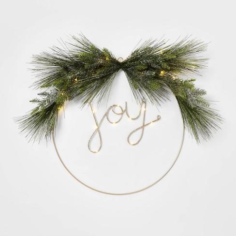 24in Pre Lit Joy Flocked Led Wreath Wondershop Target