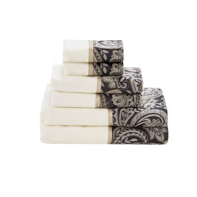 Wellington 6pc Jacquard Bath Towel Set Black (27x52 )
