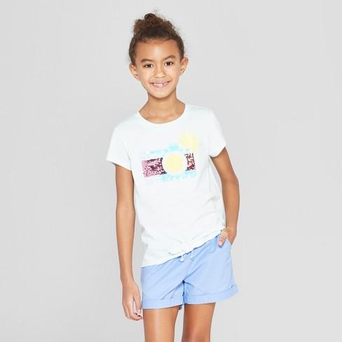 7f88c35c2e77 Girls' Short Sleeve Tie Front Camera Flip Sequins T-Shirt - Cat & Jack™  Aqua XS : Target