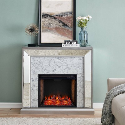 Tynchel Mirrored Smart Fireplace with Faux Stone Antique Silver - Aiden Lane