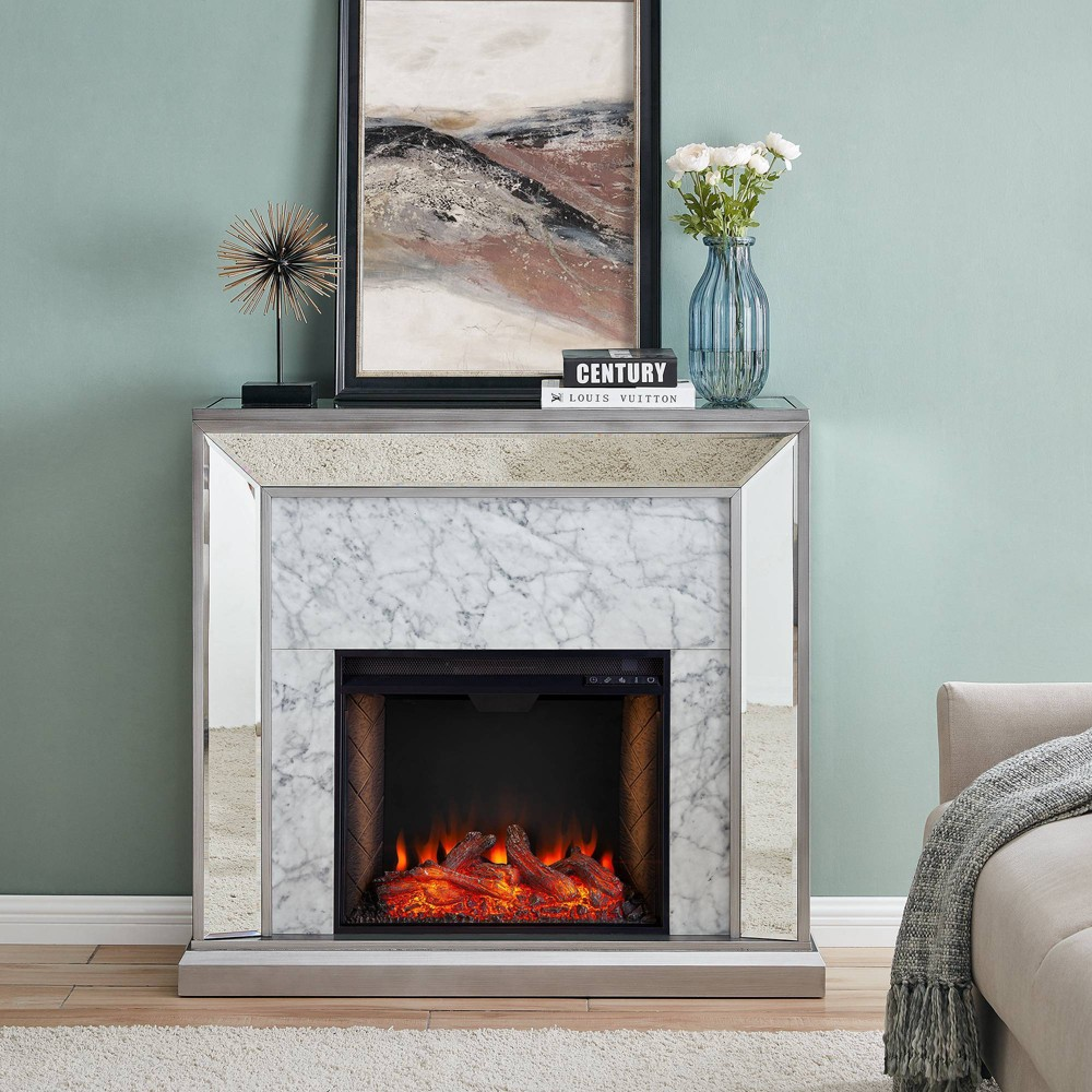 Tynchel Mirrored Smart Fireplace With Faux Stone Antique Silver Aiden Lane