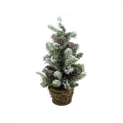Allstate Floral 2' Unlit Artificial Christmas Tree Potted Flocked Pine Slim with Wicker Base