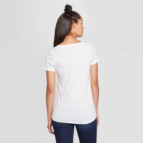 bc0b9b914 Women's Casual Fit Short Sleeve V-Neck Atlanta Graphic T-Shirt - Modern Lux  White : Target