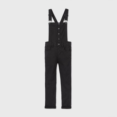 Girls' Button-Front Overalls - Cat & Jack™ Black Wash