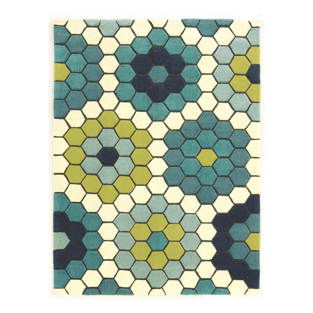 Blue Mosaic Design Loomed Area Rug 5'X7' - Linon, Green Blue