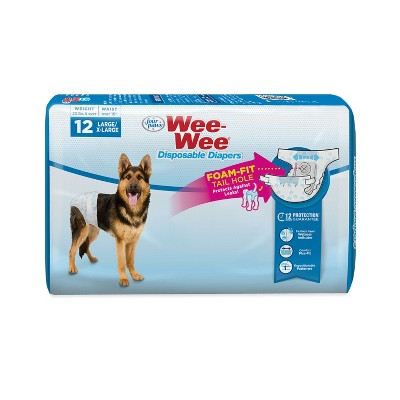 Four Paws Wee-Wee Disposable Dog Diapers - 12ct - L/XL