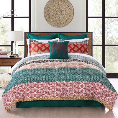 Full/Queen 7pc Bohemian Stripe Comforter Set Turquoise/Orange - Lush Décor