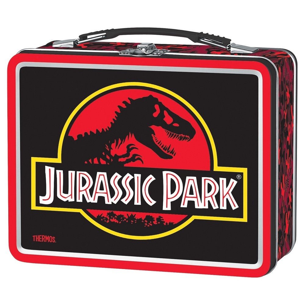 Thermos Metal Jurassic Park Lunch Box, Red The metal lunch kit designed with a vintage-look from Genuine Thermos Brand features high quality, bright glossy graphics. Molded out of tin, this lunch kit has a hinged lid, plastic handle and metal latch to keep the lid closed. Materials are 100 percent PVC free. Color: Red. Pattern: Dinosaur.