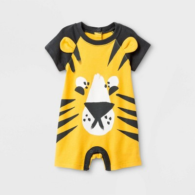 Baby Boys' Jersey Short Sleeve Raglan Short Romper - Cat & Jack™ Yellow Newborn