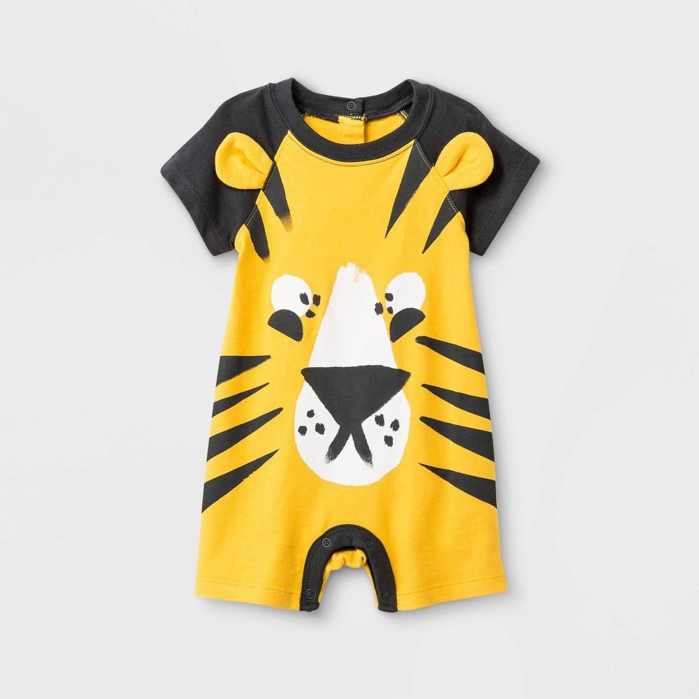 38d1135e Baby Boys Jersey Short Sleeve Raglan Short Romper Cat Jack Yellow 0 3M