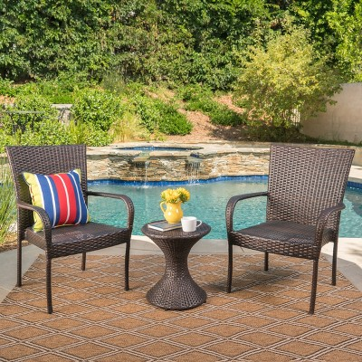 Newport 3pc Wicker Chat Set - Multibrown - Christopher Knight Home