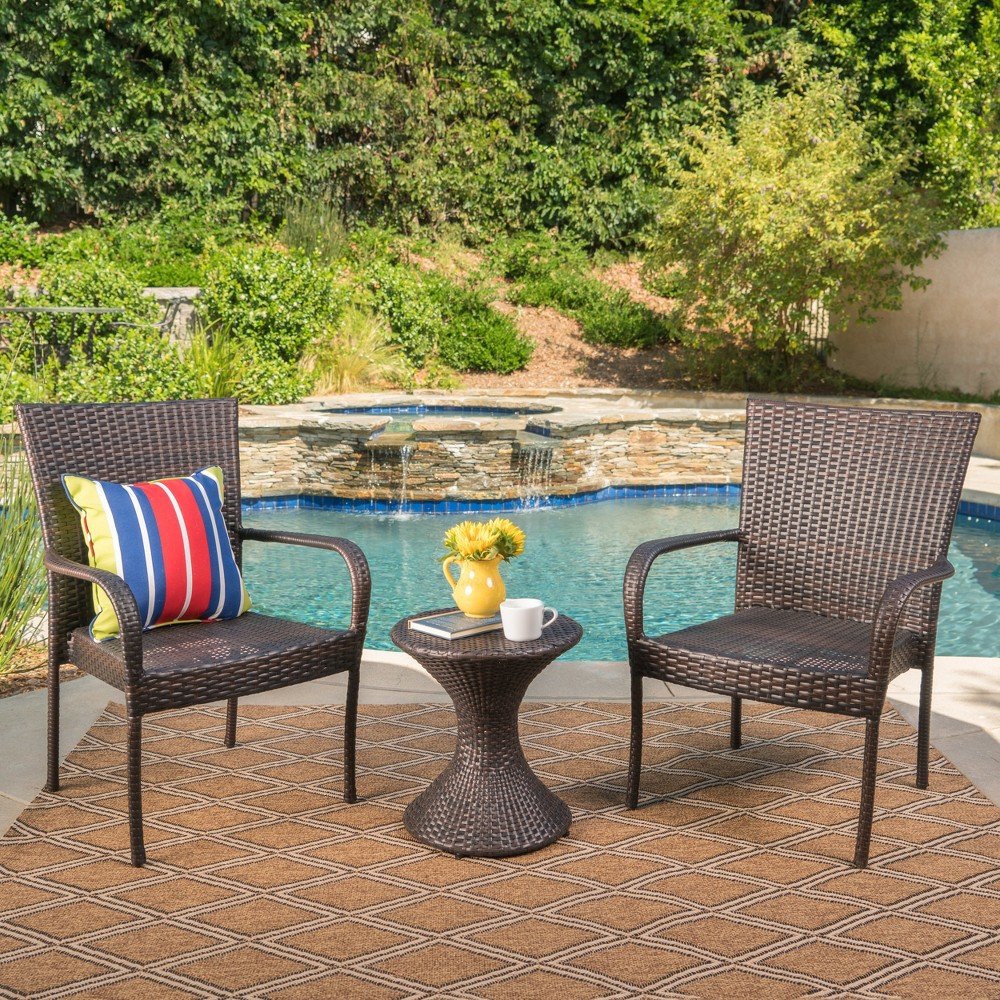Newport 3pc Wicker Chat Set - Multibrown - Christopher Knight Home, Brown