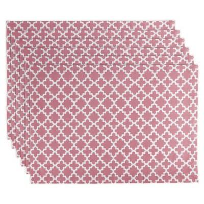 Set of 6 Rose Lattice Placemat Pink - Design Imports