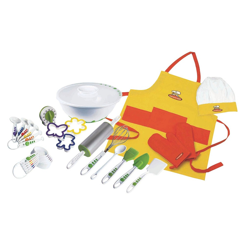 Curious Chef 27pc Foundation Set, White/Green The 27-Piece Foundation Set from Curious Chef has everything your kiddo needs to get cooking. It includes easy-grip, color-coded measuring spoons and measuring cups with no-drip edges, three cookie cutters in butterfly, flower and teddy bear shapes, a 60-minute kitchen timer, a mixing bowl with a lid, a rolling pin, a wire whisk, a mixing spoon, a pastry brush, a spatula, a turner and two oven mitts, plus an apron and a chef's hat to look the part! Color: White/Green.