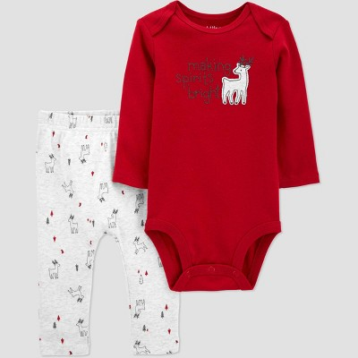 Baby Organic Cotton 'Making Spirits Bright' Pants and Bodysuit Set - little planet organic by carter's Red Newborn