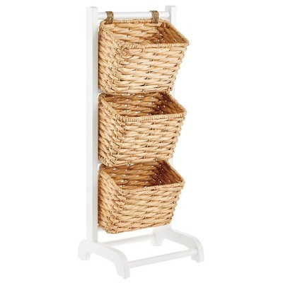 mDesign Vertical Standing Storage Basket Stand with 3 Baskets