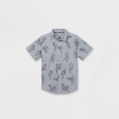 Boys' Bird Print Button-Down Short Sleeve Shirt - Cat & Jack™ Medium Gray
