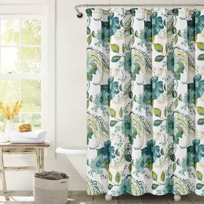 Floral Paisley Shower Curtain Blue - Lush Décor