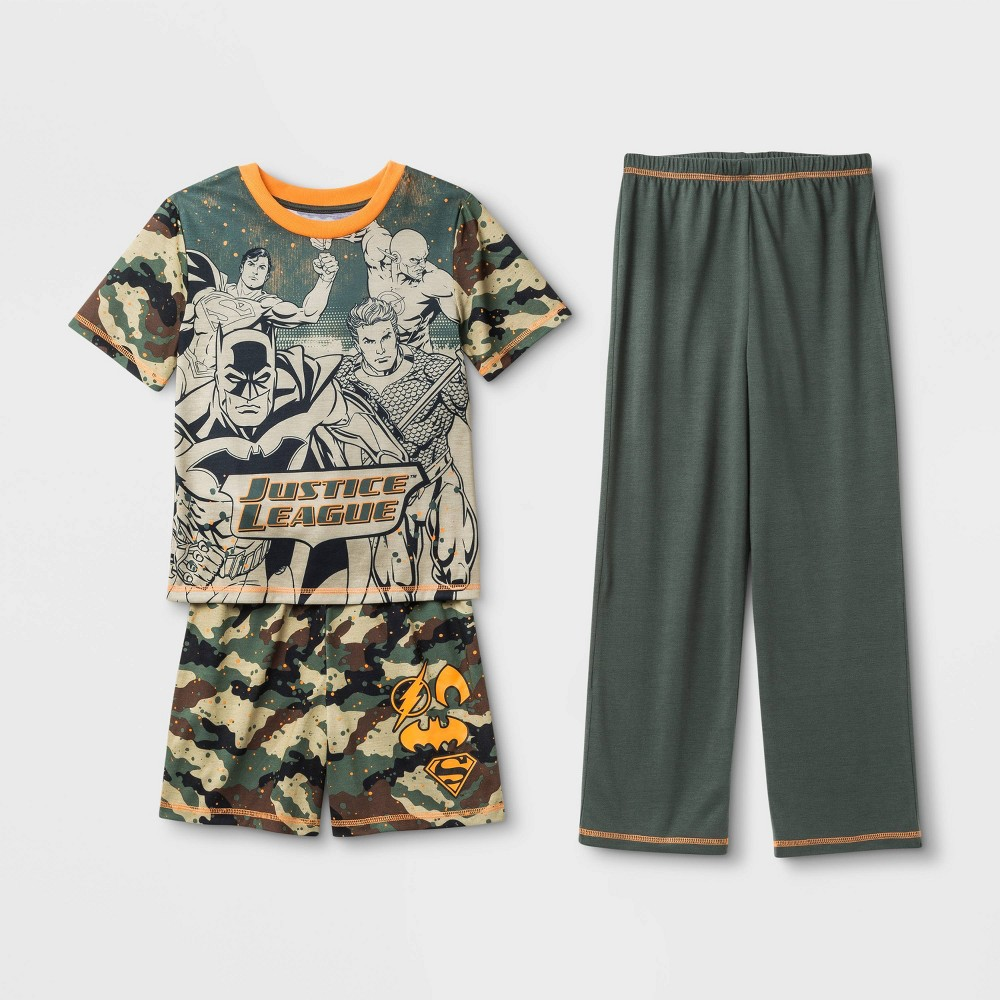 Image of Boys' Camo Justice League 3pc Pajama Set - Green L, Boy's, Size: Large, Green/Green