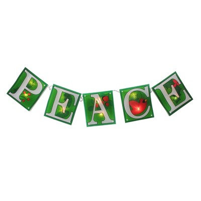 "Impact Innovations 10-Count Green and Clear Shimmering ""PEACE"" Garland Mini Christmas Light Set, 4.5ft White Wire"