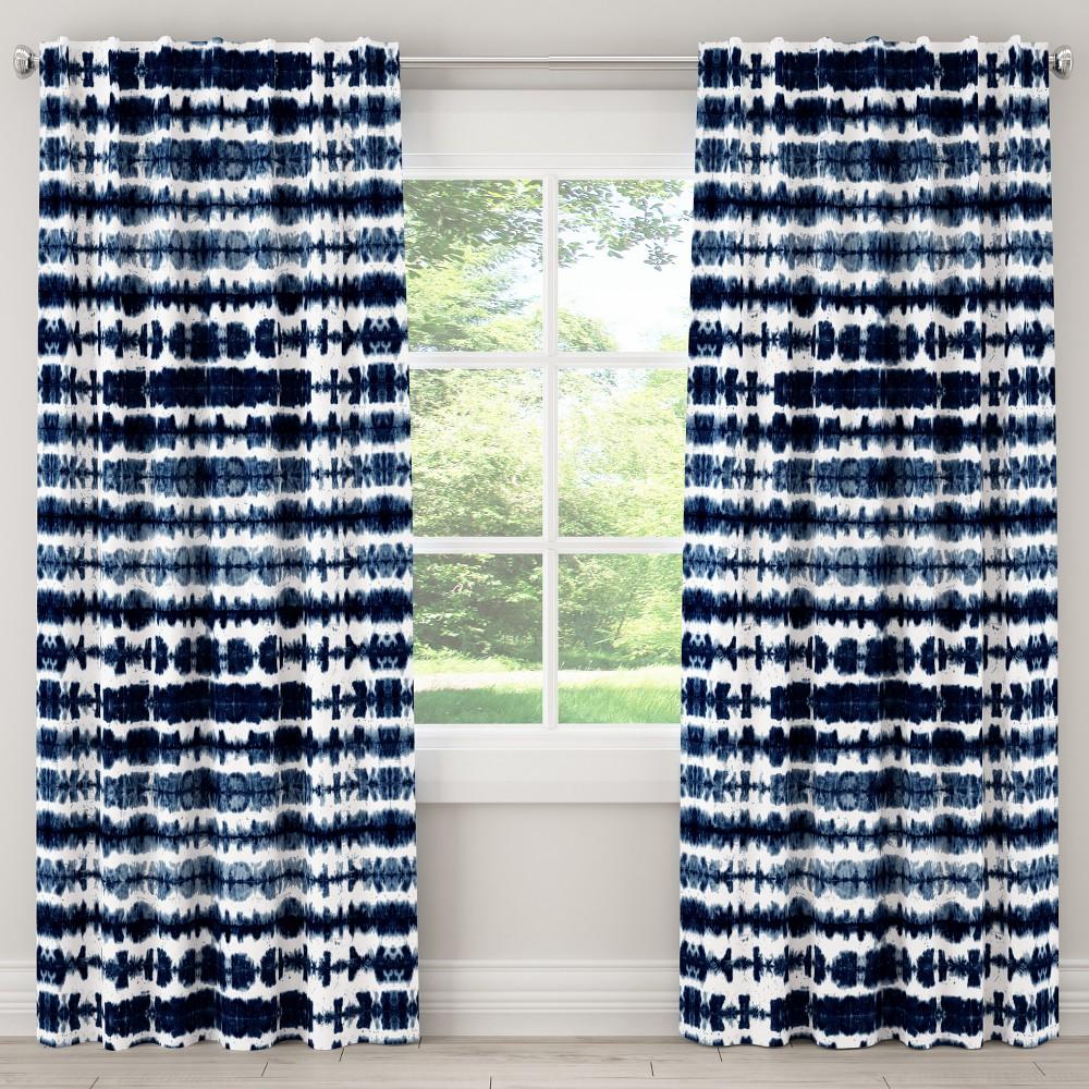 Unlined Curtain Obu Stripe Navy 120L - Cloth & Co., Blue