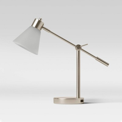 Articulated Task Lamp with Outlet Frosted Shade - Threshold™