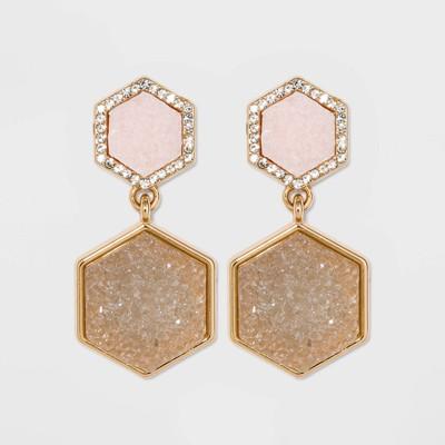 SUGARFIX by BaubleBar Geometric Druzy Drop Earrings - Blush Pink