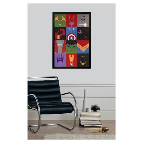 Avengers - Minimalist Grid, Black Wood Framed Poster : Target