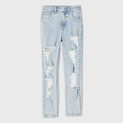 Women's High-Rise Distressed Mom Jeans - Wild Fable™ Light Wash